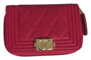Chanel Fuchsia le Boy Caviar GHW Zip Around Card Holder Coin Purse