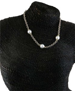 David Yurman White Pearls on 18K Paved diamonds Gold Post and 925 Silver Rolo Chain