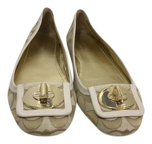 Coach Rubber Bumpers Gold and Tan Logo Fabric Gold Metal Emblem Padded Insoles Ballet Flats