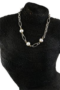 David Yurman * White Cultured Pearls Gold and Silver Chain Link Toggle Necklace