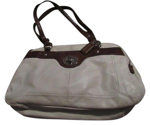 Coach Great Everyday Excellent Condition Color Block Style 'penelope' Line Mutiple Compartment Satchel in ivory buttery soft leather and brown snakeskin embossed Leather
