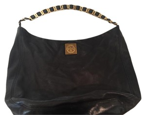 Tory Burch Classic Leather Gold Trim Hobo Bag