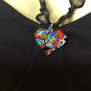 Murano stamped made in Italy, guaranteed new heart Murano pendant stamped