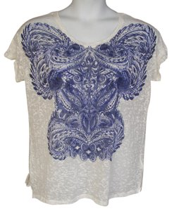 H&M Oversized Swirl Burnout Sheer T Shirt White & Blue