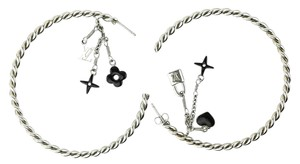 Louis Vuitton Louis Vuitton Silver-tone Sweet Monogram Cable Hoop Earrings