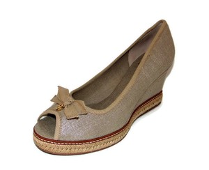 Tory Burch Jackie Metallic Linen Wedge Peep Toe Beige Pumps