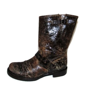 Frye Veronica Shortie Pull On Distressed Antiqued Leather Brown, black Boots