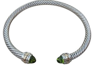 David Yurman Large size 5 mm sterling Classic Cable Bracelet w/ Peridot end cap