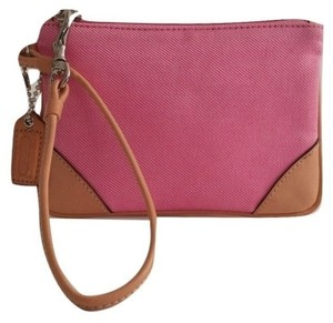 Coach Jacquard Leather Wristlet in Pink