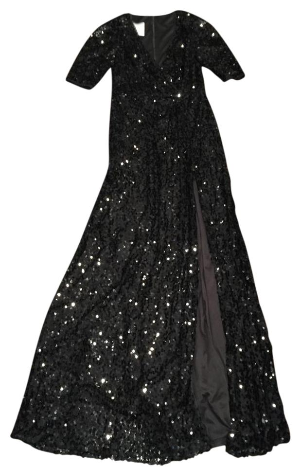Black Sequin Gown Long Formal Dress Size 8 M Tradesy