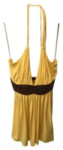 Sky Top yellow with studded brown leather
