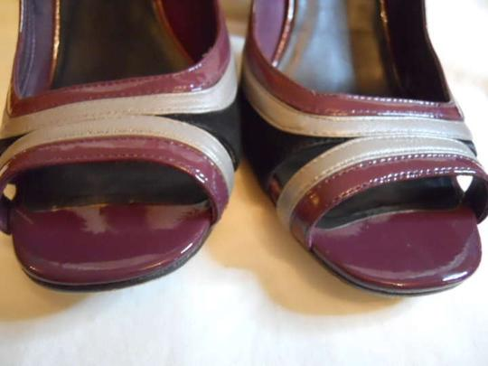 Cole Haan Open Heel Dressy Patent Leather Black purple grey Sandals