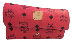 MCM MCM Red Leather Logo Print Wallet