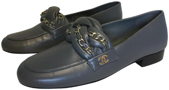 Item - Grey Classic Leather Braided Chain Loafers Cc Logo Slip-on Moccasin Flats Size EU 36 (Approx. US 6) Regular (M, B)