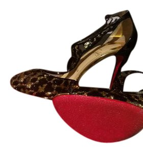 Christian Louboutin Tiny T Strap Leopard Black and gold Pumps