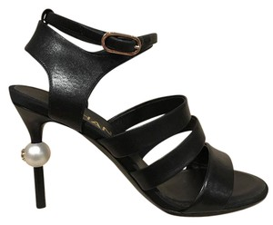 Chanel Pearl Stiletto Strappy Ankle Ankle Strap black Pumps