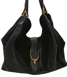 Gucci Leather Pony Hair Stirrup Shoulder Bag