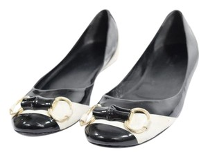 Gucci Patene Leather Suede Ballet Horse Bit Black & White Flats
