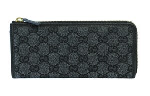 Gucci GUCCI 268917 GG Jacquard Zip around Wallet, Charcoal