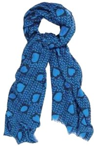 Stella McCartney Heart Print Cotton Modal Long Scarf Shawl Wrap Periwinkle Blue