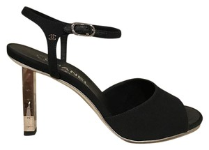 Chanel Ruler Stiletto Ankle Strap Sandal black Pumps