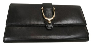 Gucci Leather Stirrup Wallet Black Clutch