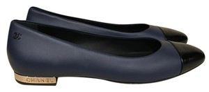Chanel Leather Ballerina Classic Logo blue Flats