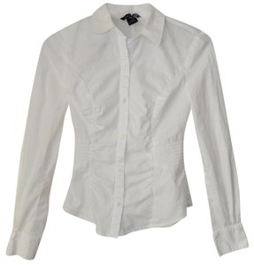 Moda International Ruched Long Sleeve Fitted Button Down Shirt White