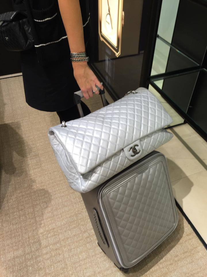 307b76d32ec2 Chanel Xxl Classic Airlines Silver Travel Bag Image 11. 123456789101112