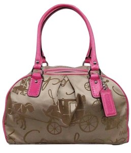 Coach Satchel in Tan and Pink