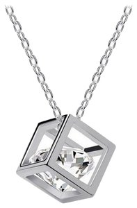 Other Romantic Crystal Cube Drop Necklace (silver)