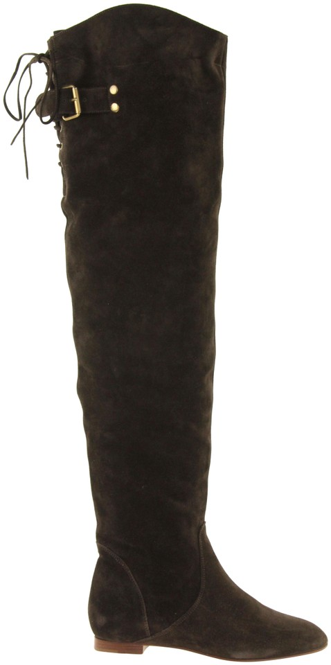 e6f8bc386c6 Chloé Brown Crosta Over-the-knee Boots Booties Size EU 36.5 (Approx ...