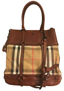Burberry Check Leather Satchel Tote in Brown