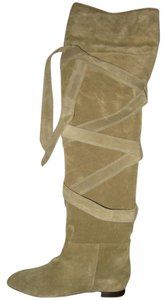 Chloé Over The Knee Suede Wrap Around Taupe Boots