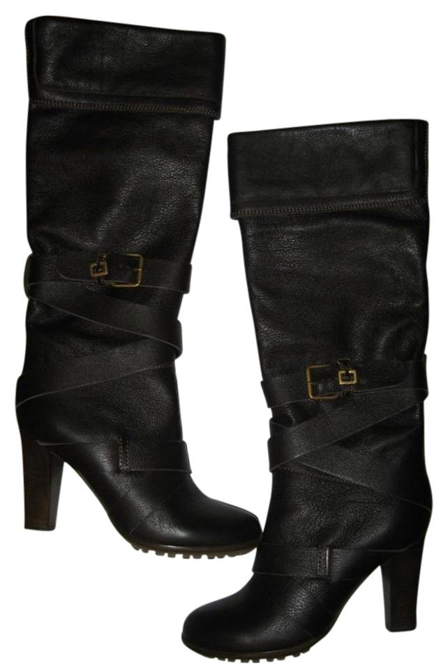 ec2dd5ca56e Chloé Brown Paddington Prince Leather Knee High Buckle Belted Boots ...