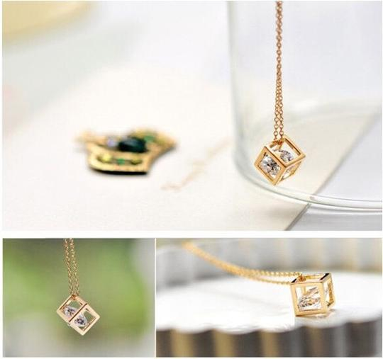 Other Romantic Crystal Cube Drop Necklace (gold)
