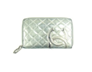 Chanel Metallic Leather Long Zip-Around Oversized Continental Wallet