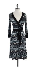 Diane von Furstenberg short dress Blue & Black Print Silk Wrap on Tradesy