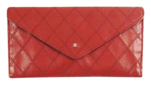 Chanel Quilted Calf Leather Long Envelope Clutch Wallet France