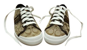 Coach New Fashion New York Designer Sneakers Brown/Tan/Cream/White Athletic