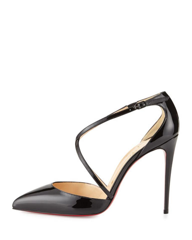 9de92686ce3d Christian Louboutin Black Cross Blake 100 Patent Pumps Size US 10 ...