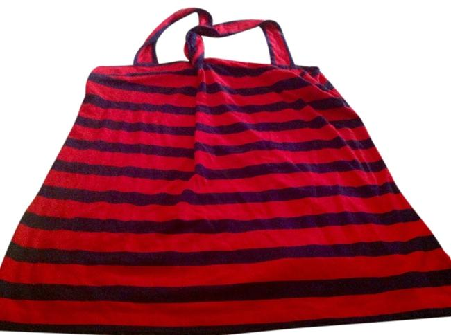 Item - Red and Navy Blue Stripes Style & Halter Top Size 16 (XL, Plus 0x)