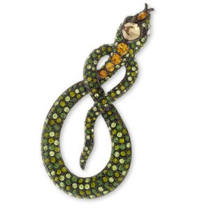 Kenneth Jay Lane Kenneth Jay Lane Green and Topaz Snake Brooch