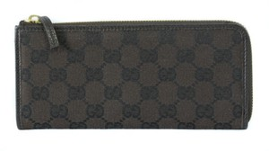 Gucci Gucci 268917 Gg Jacquard Zip Around Wallet Brownblack