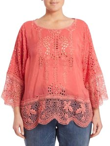 Johnny Was Bohemian Lace Trim Festival Boho Tunic
