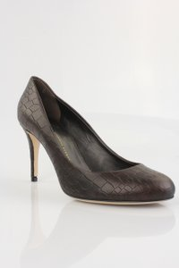 Giuseppe Zanotti Brown Croc Print Leather Dark Brown Pumps