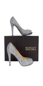 Badgley Mischka Silver Metallic Peep Toe Pumps
