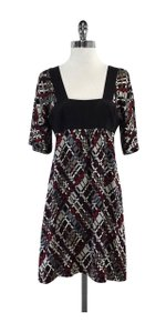 Trina Turk short dress Black Red White Patterned Silk on Tradesy