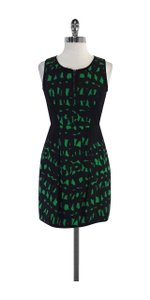 MILLY short dress Black & Green Print Sleeveless on Tradesy