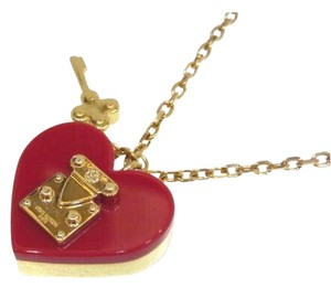 Louis Vuitton Gold-Tone & Enamel Rock Me Heart Key Necklace